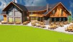 Luxusní horská chata - pohled na část s terasou