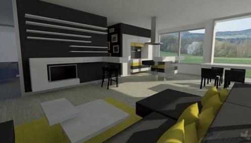 Minimalistický interiér - pohled na obývací část s