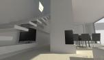 Minimalistický interiér - konzolové schodiště