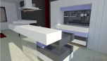 Pohled do kuchyně ve futuristickém stylu