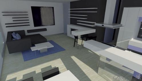 Futuristický interiér víkendového apartmánu.