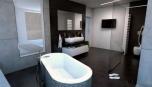 Luxusní koupelna s televizorem pro příjemnou relaxaci