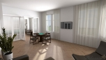 Městský byt - jiný pohled do obývacího pokoje.