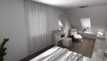 Novostavba RD - pohled do ložnice