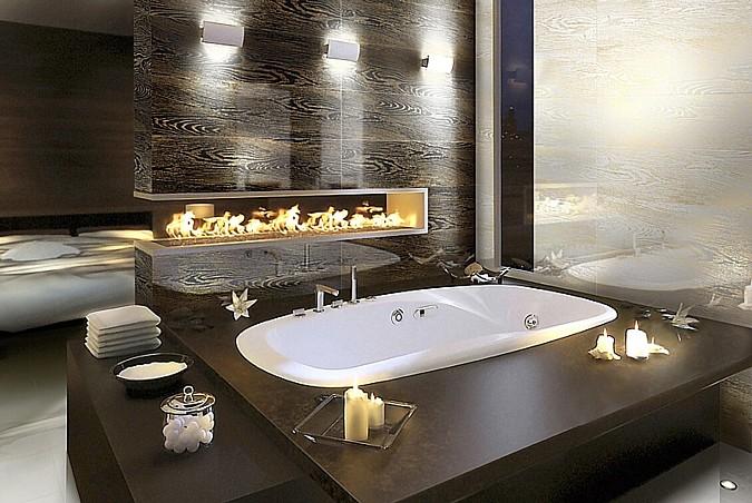 Obklad a zároveň dlažba modelu Elder z kolekce Aparici Whitebody dodávají koupelně zajímavý ráz