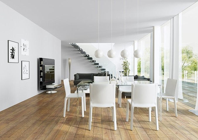 Dlažby nejen přírodních motivů jsou vhodné jak do kuchyní, tak do jídelen, kde jejich přítomnost sjednotí prostor a zároveň zde působí čistě a vzdušně