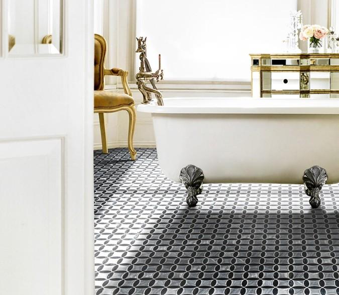 Model Sun z kolekce Aparici Design svým výrazným designem a vzorem dodává jinak velmi světlé koupelně zemitost.