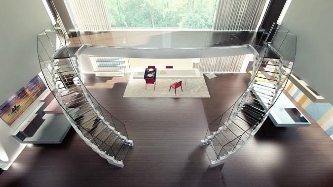 Schodiště Cobra, vyrobené firmou Siller, v interiéru