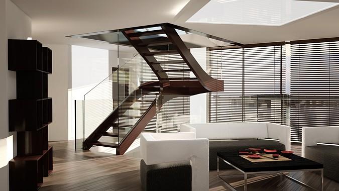 Schody Siller Nordic, klasické schody s dřevěnými schodnicemi