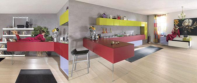 kuchyně v červené