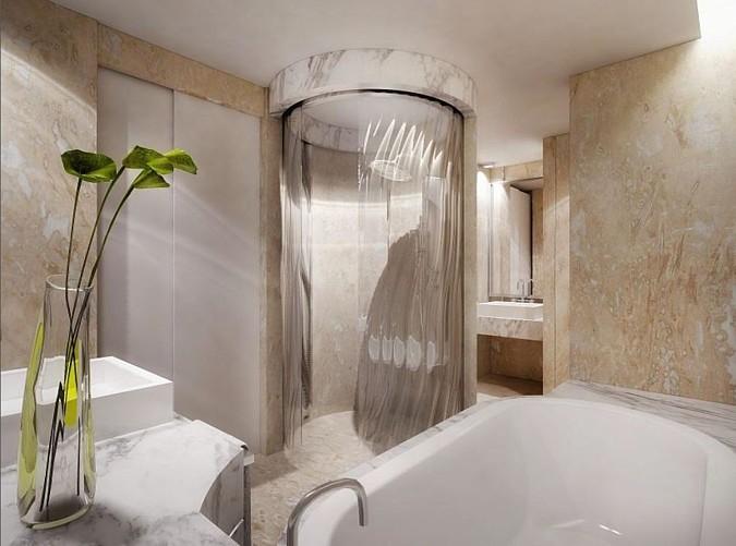 V interiéru lze desgnovou skleněnou stěnu použít i v případě sprchových koutů