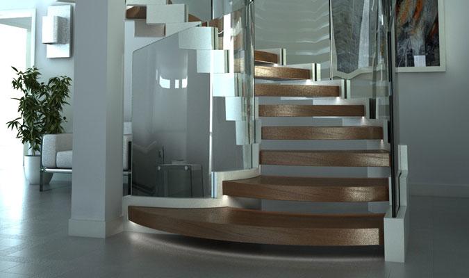Výraznou součástí schodiště je zábradlí z ohýbaného skla.