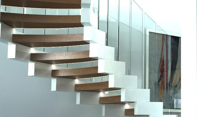 Díky rafinovaně umístěnému osvětlení dostává spirálové schodiště další rozměr.