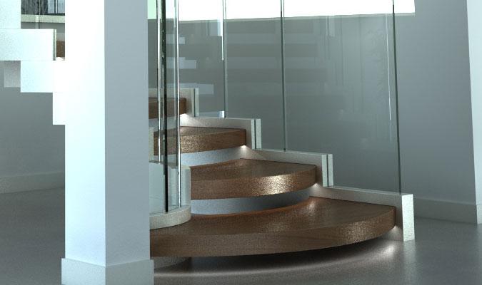 Schodišťové stupně mohou být jak z betonu, tak ze dřeva, ze skla, či je lze jinak přizpůsobit zbytku interiéru.