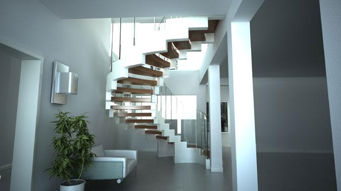 Spirálové schodiště Cobra je výraznou dominantou interiéru.