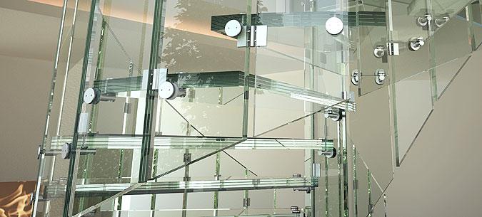 Detail laminovaných skel a kování Siller.