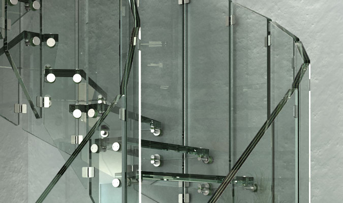 Skleněné schodiště detail