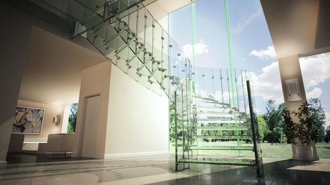 Skleněné schody - samonosné skleněné schodiště Fly.