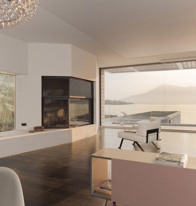 Moderní interiér a moderní nábytek.