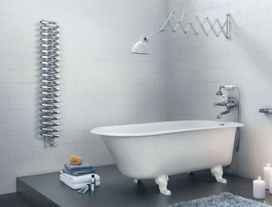 Designový radiátor do koupelny Runtal Spirale doplňuje interiér a vnáší teplo