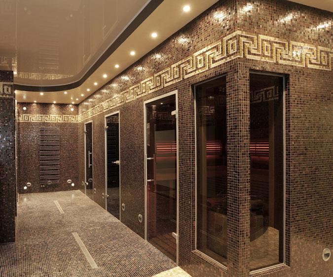Sauna jako součást Vašeho domácího wellnes. Luxusní provedení v obkladu mozaikou.