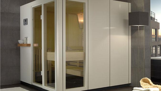 Sauna řady SA s obložením v moderním stylu