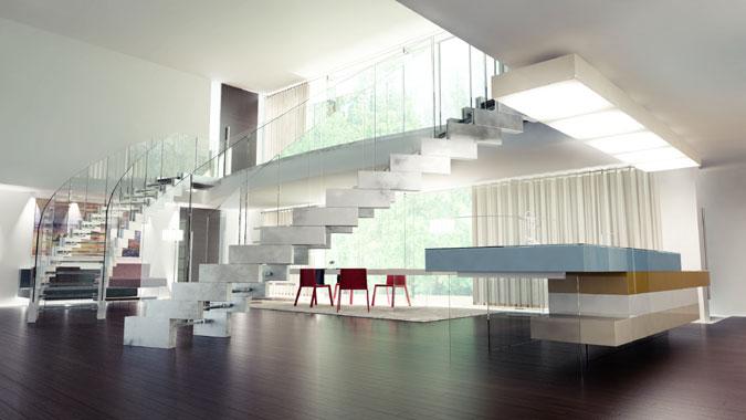Skleněné schodiště se skleněným zábradlím a s betonovými schodnicemi.