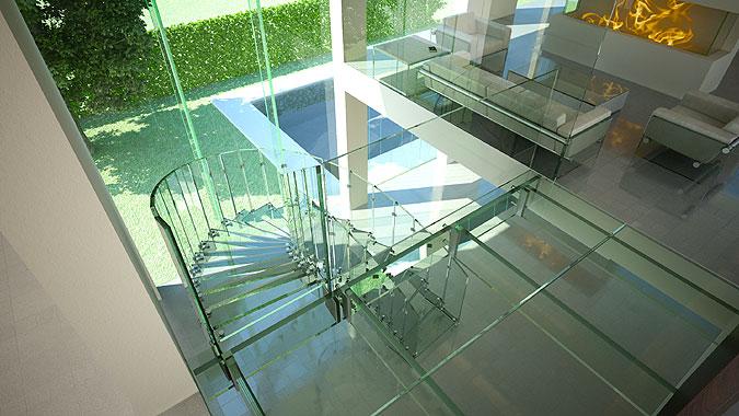 Celoskleněné samonosné schodiště FLY.