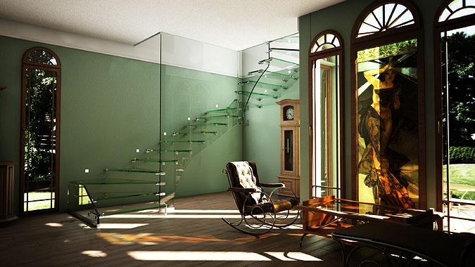 Vizualizace - celoskleněné schodiště Mistral Siller.