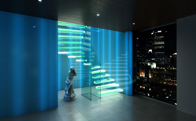 Konzolové schodiště ze skla. Skleněné stupně, skleněné zábradlí, LED