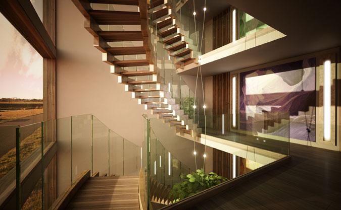 Schodiště s betonovými schodnicemi a dřevěnými stupni.