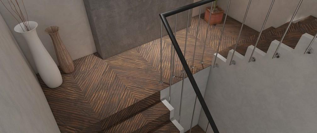 Mechanicky upravený povrch dřevěné podlahy